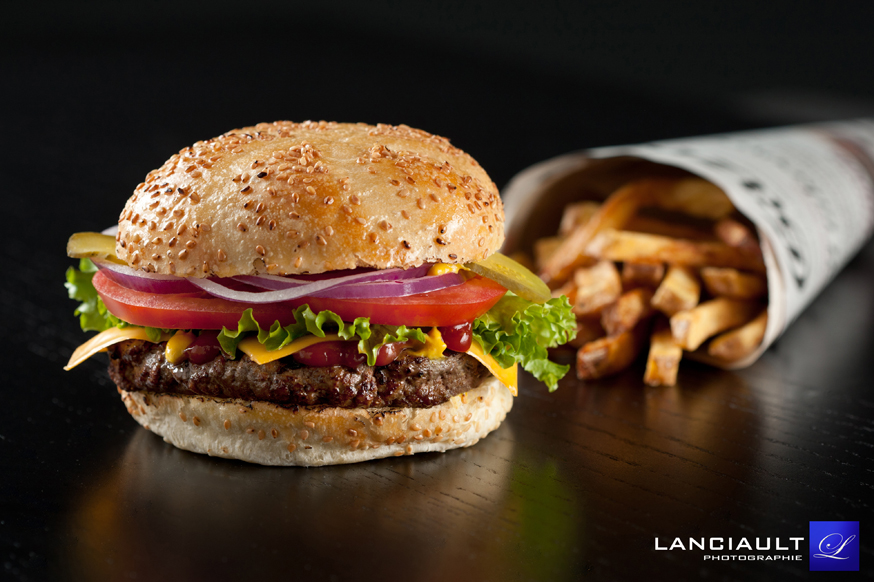 photographe culinaire hamburger fast food